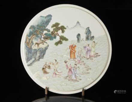 中國 十九世紀 粉彩仙境瓷板