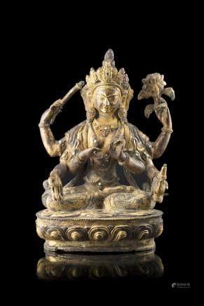 中國 十九/二十世紀 鎏金銅佛像