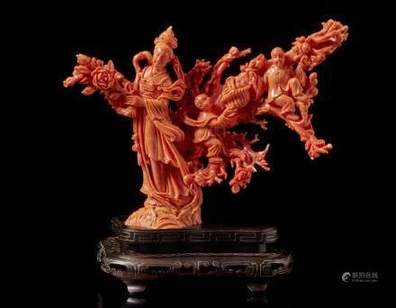 中國 二十世紀初 珊瑚仕女童子雕件