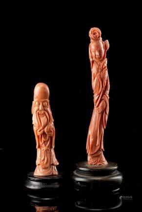 中國 二十世紀初 珊瑚雕壽老及珊瑚雕仕女
