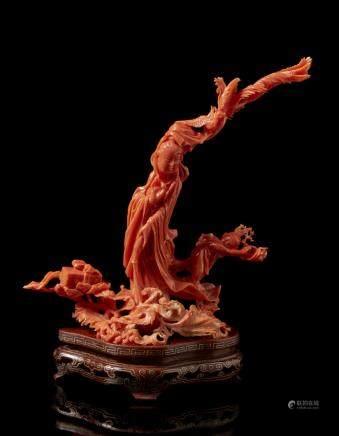 中國 二十世紀初 珊瑚送子觀音雕件