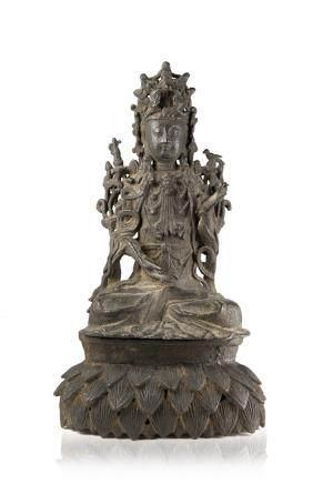 明 銅雕觀音坐蓮像