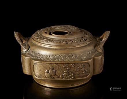 中國 十九世紀 銅雕花卉紋香爐
