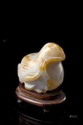 中國 十九世紀 瑪瑙鵪鶉雕像
