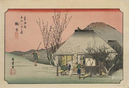 日本 明治時期 彩色風景圖版畫十件 黑白人物圖版畫三件