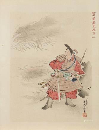 日本 明治時期 彩色人物圖版畫 八件