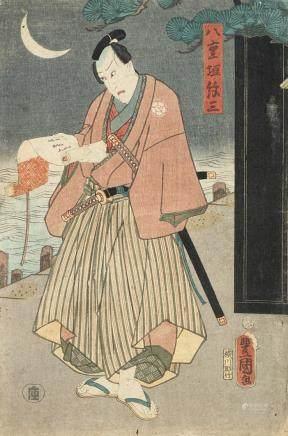 日本 明治時期 三聯畫一件 版畫六件