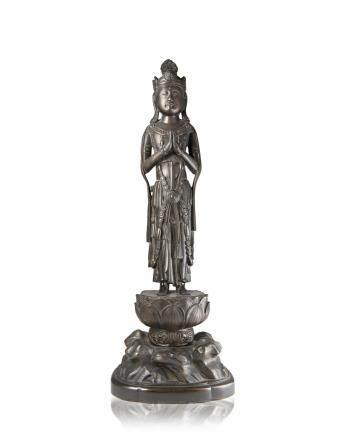 日本 民治時期 銅雕觀音立像