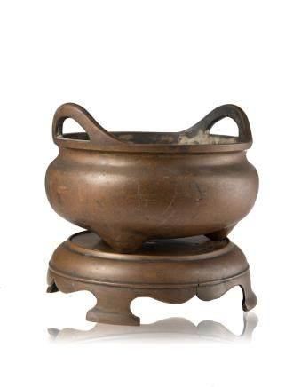 明 十七世紀 銅雙耳三足香爐