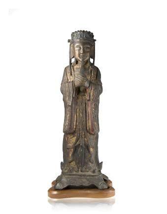 明 鎏金漆銅文官立像