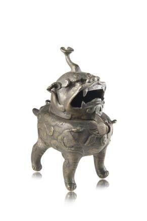 明 銅麒麟形香爐