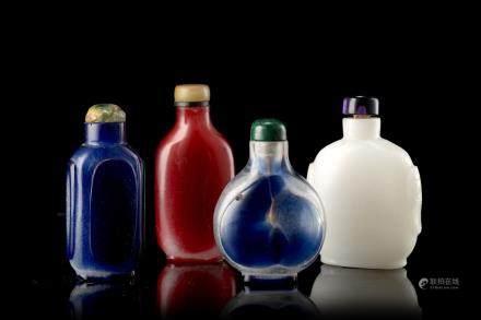 中國 十九世紀 玻璃鼻菸壺 四件