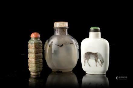 中國 十九/二十世紀 三件鼻菸壺:瓷、瑪瑙、玉