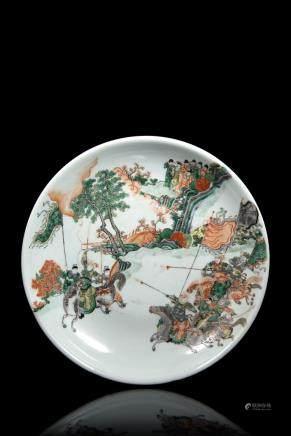 中國 十九世紀 五彩戰爭圖盤