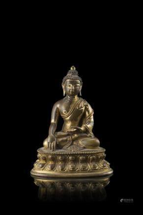 西藏/中國 十九世紀 鎏金銅佛坐像