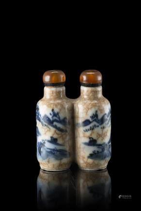 中國 二十世紀 碎地青花山水圖雙口鼻菸壺