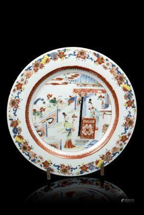 中國 十八世紀 彩繪庭院仕女圖盤
