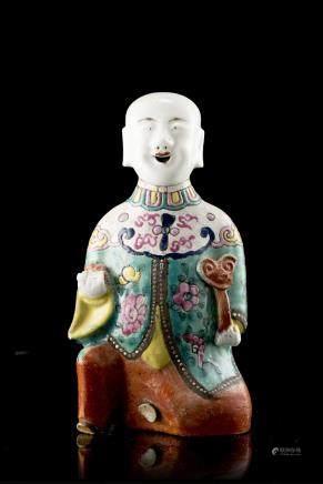 中國 十八世紀 彩繪瓷童子雕像