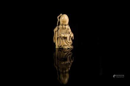 日本 十九世紀 象牙雕聖人根付