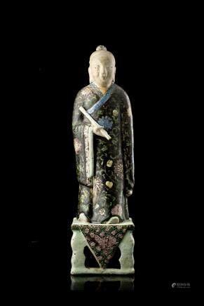 清 康熙 五彩釉陶瓷人物立像