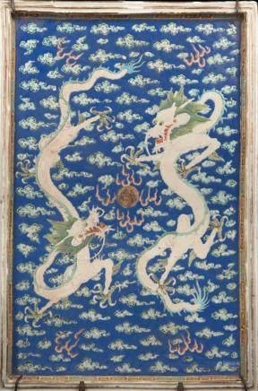 清 光緒 藍地雙龍戲珠瓷板