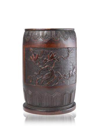 中國 二十世紀 竹雕花卉紋筆筒