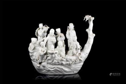 中國 二十世紀初 德化瓷八仙過海雕像