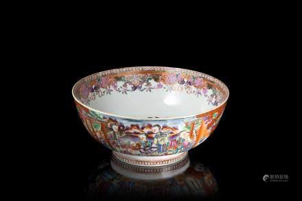 中國 十九世紀 粉彩貴族生活式樣出口碗