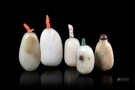 中國 二十世紀 青玉雕鼻菸壺 五件