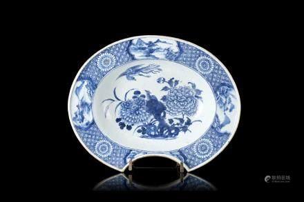 中國 十八世紀 青花鳳凰牡丹紋剃鬚盤