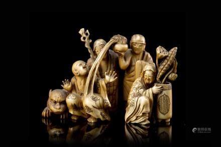 日本 十九世紀 象牙雕傳奇人物置物