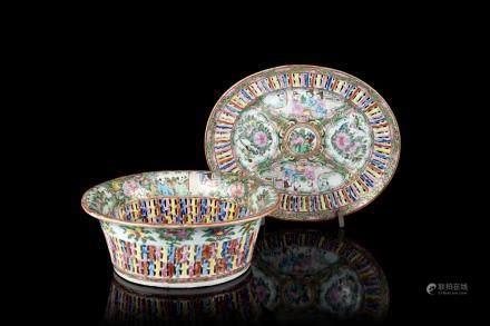 中國 十九世紀 廣彩人物花鳥紋瓷籃
