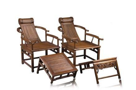 中國 二十世紀 木製躺椅 一對