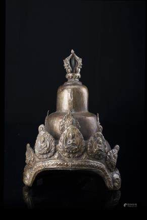 西藏 二十世紀 鍍金金屬五佛冠