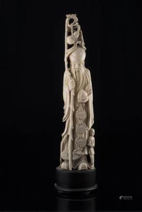 中國 十九世紀 象牙雕壽老