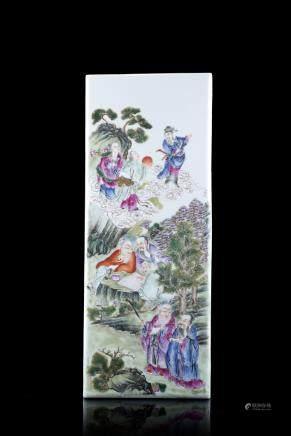 中國 二十世紀初 彩繪神仙圖瓷板