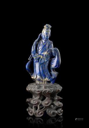 中國 十九世紀 青金石仕女及鳳凰雕像
