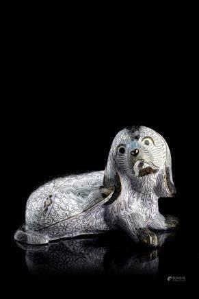 中國 二十世紀 白地景泰藍犬像