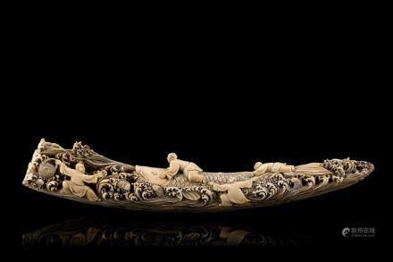 中國 二十世紀初 象牙雕童子及鯉魚羣像