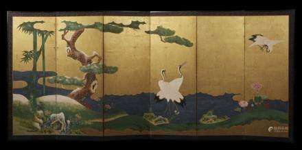 日本 十九世紀 金地鶴花卉紋六門屏風