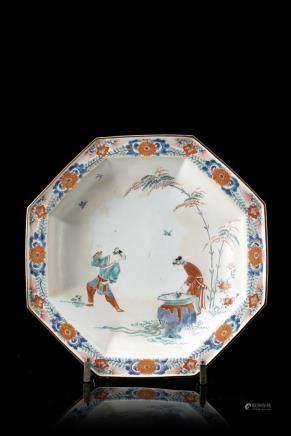 日本 江戶時期 柿右衛門司馬光砸缸救友圖八角盤