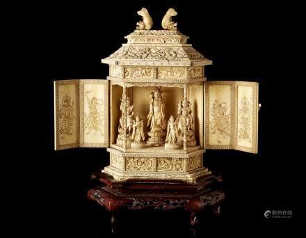 日本 明治時期 象牙寺廟及觀音雕件 底款