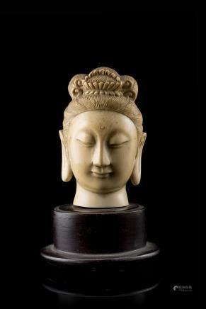中國 二十世紀初 象牙雕觀音首像