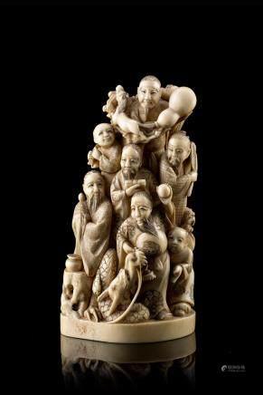 中國 二十世紀初 象牙雕众仙及童子羣像 《王正》底款