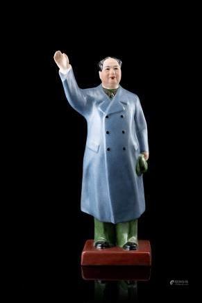 中國 二十世紀 彩繪陶瓷毛澤東雕像
