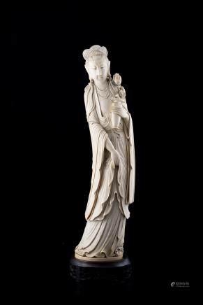 中國 十九世紀 象牙雕觀音