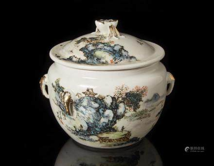 中國 二十世紀 彩繪山水圖蓋罐 落款