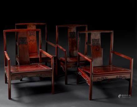 中國 十九世紀 紅木椅子 四件