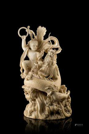 中國 二十世紀初 象牙哪吒鬧海降龍雕件