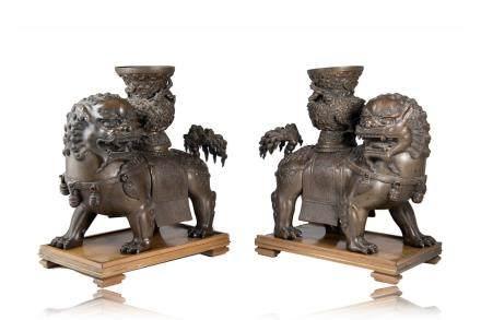 日本 十九世紀 銅雕瑞獅 一對